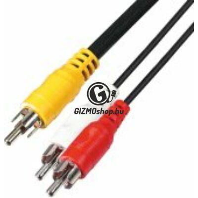 Audió kábel, 3 RCA dugó-3 RCA dugó, 1,5m