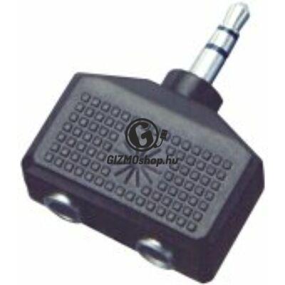 Audió átalakító, 3,5mm sztereó dugó-2×3,5mm sztereó alj