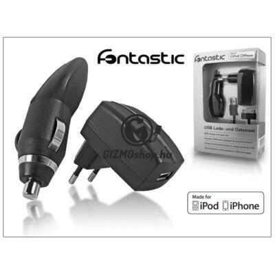 Apple iPhone 2/3G/3GS/4/4S töltő szett – USB + hálózati + szivargyújtó töltő – fekete MFI (Apple engedélyes)