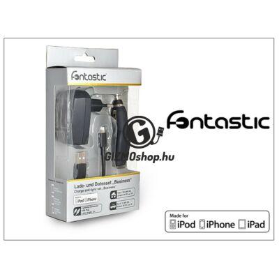 Apple iPhone 5/5S/5C/SE/6S/6S Plus Lightning töltő szett – USB+hálózati+szivargyújtó töltő – fekete (Apple MFI engedélyes)- 5V/1A