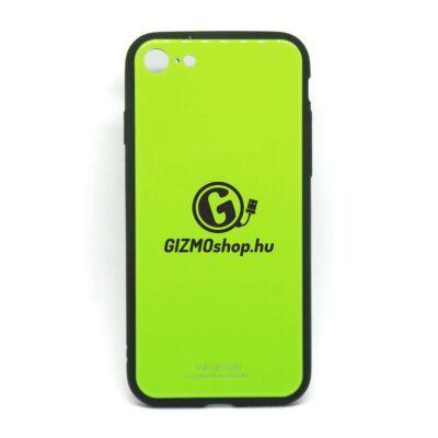 Üveghátlapos szilikon tok, iPhone X, Zöld