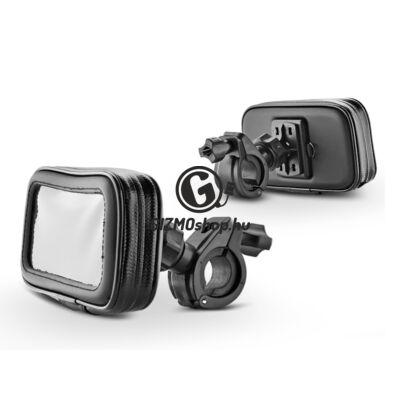 Univerzális kerékpárra/motorkerékpárra szerelhető, por- és cseppálló telefontartó – Fly B03-I5 – fekete