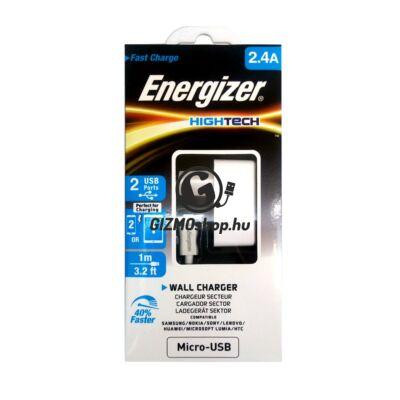 Energizer micro usb hálózati töltő, 2.4A, Fehér