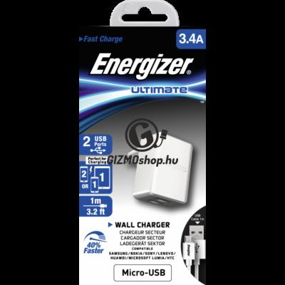 5.Energizer microUSB hálózati töltő,2xUSB,3.4A,feh