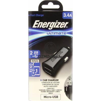 3.Energizer microUSB autós töltő,2xUSB,3.4A,Fekete