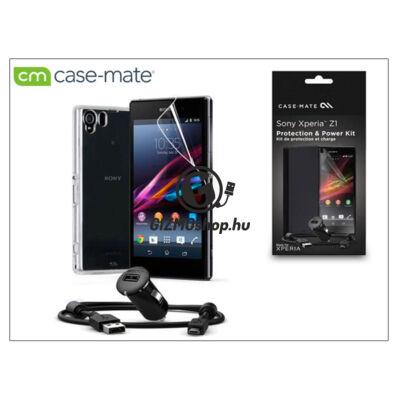 Sony Xperia Z1 (C6903) hátlap (clear) + képernyővédő fólia + AN401 szivargyújtós töltő micro USB adatkábellel – Case-Mate 3in1