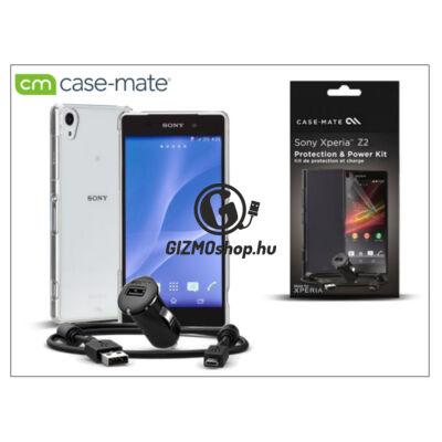 Sony Xperia Z2 (D6503) hátlap (clear) + képernyővédő fólia + AN401 szivargyújtós töltő micro USB adatkábellel – Case-Mate 3in1