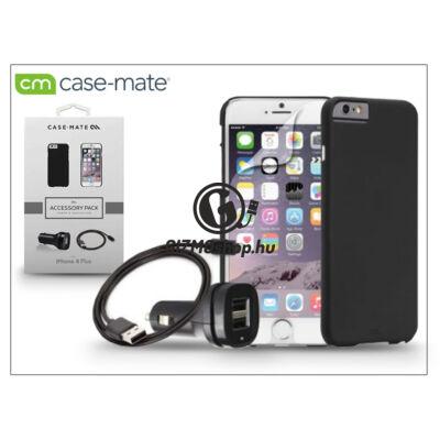 Apple iPhone 6 Plus/6S Plus hátlap (black) + képernyővédő fólia + szivargyújtós töltő adatkábellel – Case-Mate 4in1