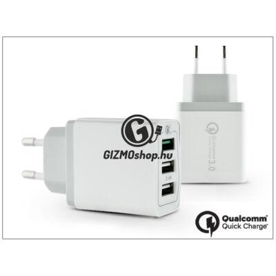 Univerzális 3xUSB hálózati töltő adapter – 5V/3A + 2×2,4A – Qualcomm Quick Charge 3.0 – white