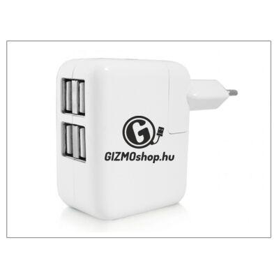 Univerzális USB hálózati töltő adapter 4 x USB – 5V/4A – fehér