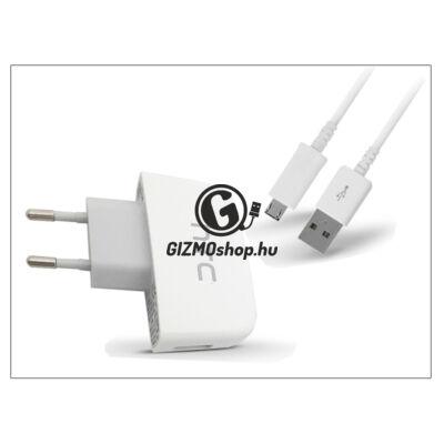 HTC gyári USB hálózati töltő adapter + micro USB adatkábel – 5V/1A – TC P450 white (csomagolás nélküli)