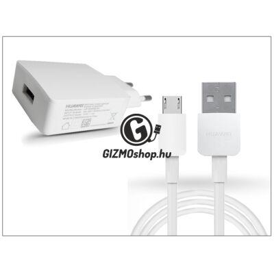 Huawei gyári USB hálózati töltő adapter + micro USB adatkábel – 5V/2A – HW-050200Z3W + 2450768A white (ECO csomagolás)