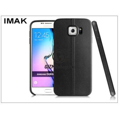 Samsung SM-G920 Galaxy S6 hátlap képernyővédő fóliával – IMAK Vega Leather – fekete