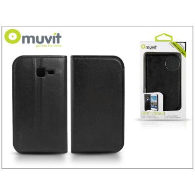 Samsung S7572 Galaxy Trend II Duos flipes tok kártyatartóval – Muvit Slim and Stand – black