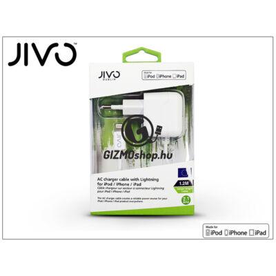 Apple iPhone 5/5S/5C/SE/iPad 4/iPad Mini Lightning hálózati töltő (Apple MFI engedélyes) 1,2 m-es kábellel – JIVO – 5V/2,1A – fehér