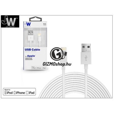 Apple iPhone 5/5S/5C/SE/iPad 4/iPad Mini USB töltő- és adatkábel – 3 m-es vezetékkel (Apple MFI engedélyes) – Just Wireless Lightning – fehér