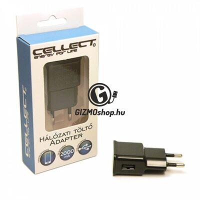 3.Cellect hálózati töltőfej, 1 USB, 2000mA, Fekete