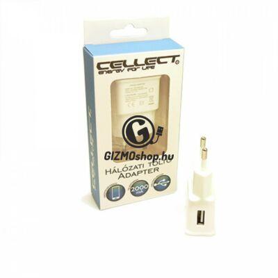 2.Cellect hálózati töltőfej, 1 USB, 2000mA, Fehér