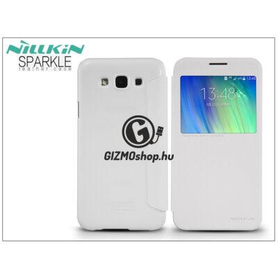 Samsung SM-E700F Galaxy E7 oldalra nyíló flipes tok – Nillkin Sparkle – fehér