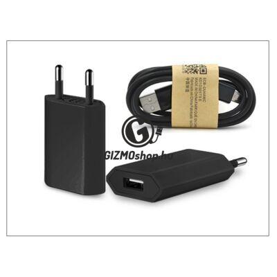 Univerzális USB hálózati töltő adapter + micro USB adatkábel – 5V/1A – black