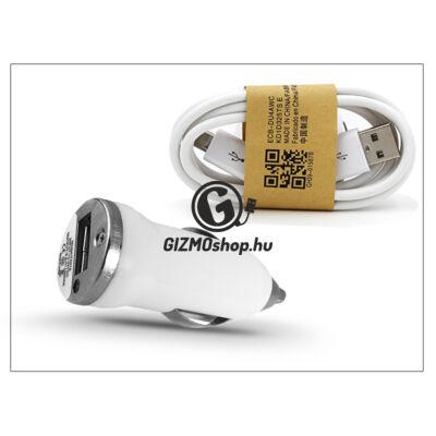 Univerzális USB szivargyújtó töltő adapter + micro USB adatkábel – 5V/1A – fehér
