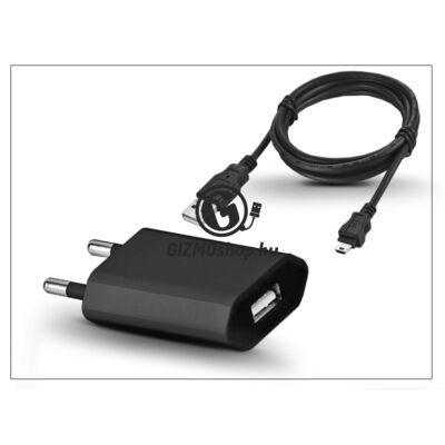 Univerzális USB hálózati töltő adapter + micro USB töltőkábel – 5V/1A – black