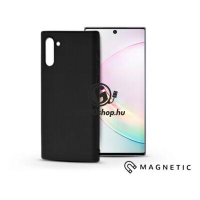 Samsung N970F Galaxy Note 10 szilikon hátlap beépített fémlappal – Soft Magnetic – fekete
