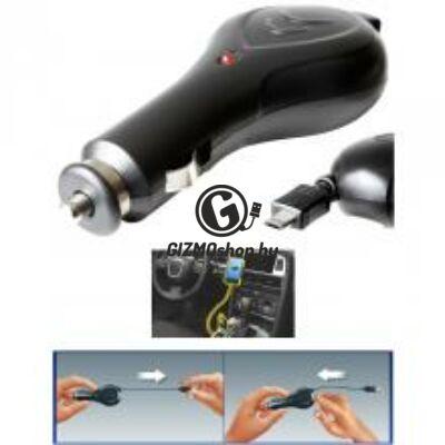 Autós micro USB töltő, felcsévélhető