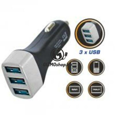 Autós USB töltő, 3 aljzat, 3,1A
