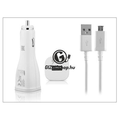 Samsung gyári USB szivargyújtós töltő adapter + micro USB adatkábel – 5V/2A – EP-LN915U+ECB-DU4AWE/EWE white – Adaptive Fast Charging (csomagolás nélküli)