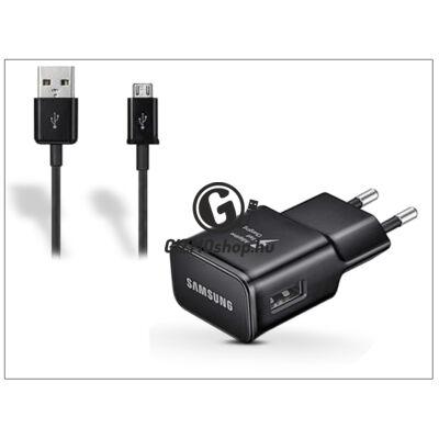 Samsung gyári USB hálózati töltő adapter + micro USB adatkábel – 5V/2A – EP-TA20EBE + ECC1DU4BBE black (ECO csomaglás)