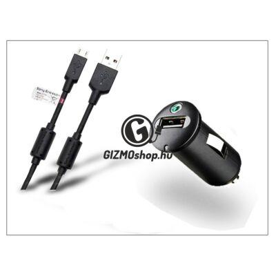 Sony Ericsson gyári USB szivargyújtós töltő adapter + micro USB adatkábel – 5V/1,2A – AN400+EC450 (csomagolás nélküli)