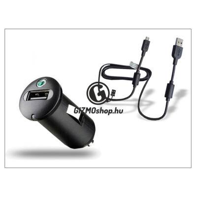 Sony Ericsson gyári USB szivargyújtós töltő adapter + micro USB adatkábel – 5V/1,2A – AN400 (csomagolás nélküli)