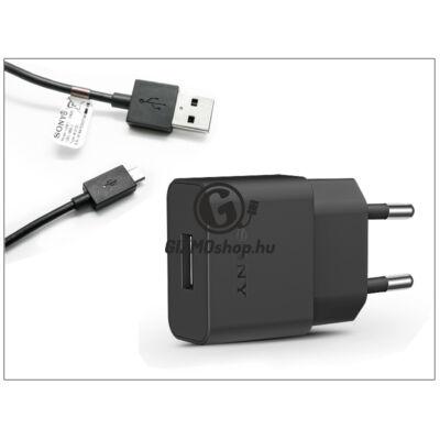 Sony USB gyári hálózati töltő adapter + micro USB adatkábel 100 cm-es vezetékkel – 5V/1,5A – UCH20 + UCB11 black (ECO csomagolás)