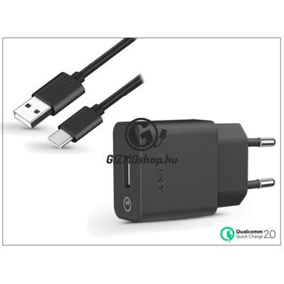Sony USB gyári hálózati gyorstöltő adapter + Type-C adatkábel – QC 2.0 Quick Charger – 5V/1,8A – UCH10 + UCB20 Type-C 2.0 (ECO csomagolás)