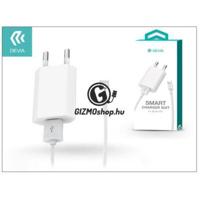 Apple iPhone 5/5S/5C/SE/6S/6S Plus USB hálózati töltő adapter + lightning adatkábel – 5V/1A – Devia Smart Charger Suit – white