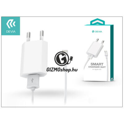 Apple iPhone 5/5S/5C/SE/6S/6S Plus USB hálózati töltő adapter + lightning adatkábel – 5V/1A – Devia Smart Charger Suit – white