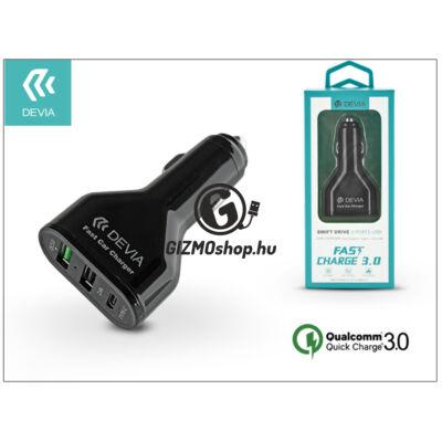 Devia 2xUSB+Type-C szivargyújtós töltő adapter – 5V/3A/2,4 – Devia Swift Drive 3 Port USB Quick Charge – Qualcomm Quick Charge 3.0 – black