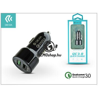 Devia Dual USB szivargyújtós töltő adapter – 5V/3A/2,4A – Devia Smart Dual USB Quick Charge – Qualcomm Quick Charge 3.0 – black