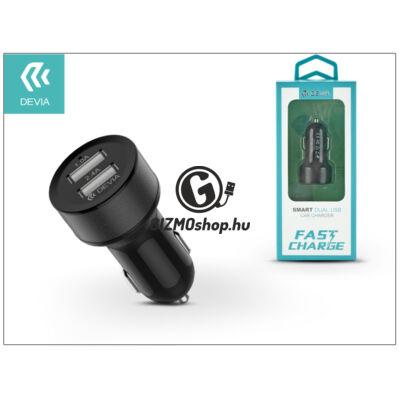 Devia USB szivargyújtós töltő adapter – Devia Smart Dual USB Fast Charge – 5V/2,4A – black