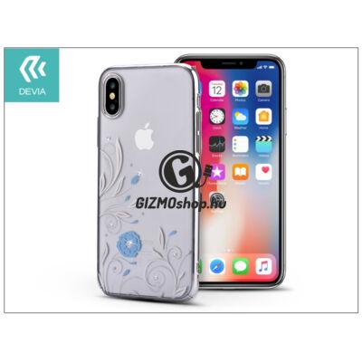 Apple iPhone X hátlap Swarovski kristály díszitéssel – Devia Crystal Petunia – silver/transparent