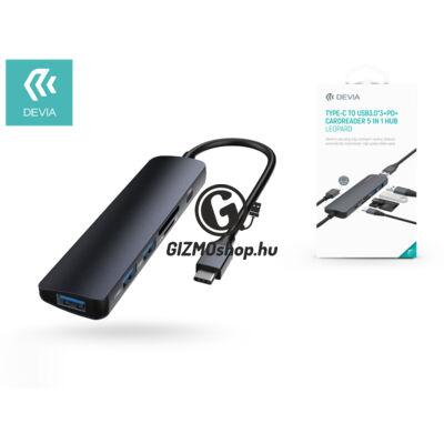 Devia USB Type-C – 3xUSB 3.0 + PD + kártyaolvasó elosztó/adapter – Devia Leopard 5 in 1 Hub – black