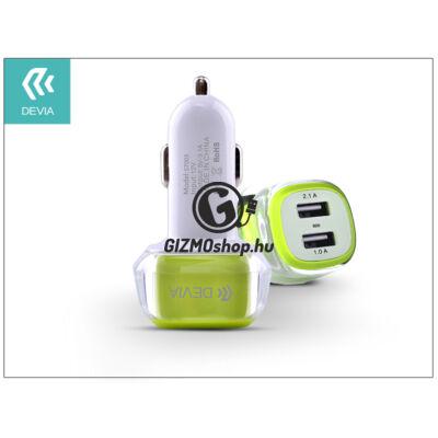 Devia Dual USB szivargyújtós töltő adapter – 5V/3,1A – green/white