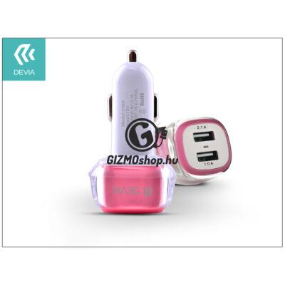 Devia Dual USB szivargyújtós töltő adapter – 5V/3,1A – pink/white