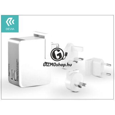 Univerzális USB hálózati töltő adapter 2 x USB – 5V/2,5A – Devia Universal Power Travel Kit – white/grey