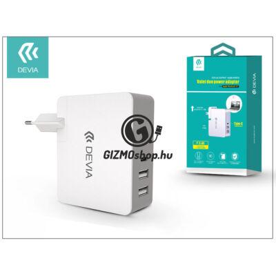 Univerzális USB hálózati töltő adapter 2 x USB + Type-C – 5V/5,4A – Devia Valet Duo Power Adapter – white/grey