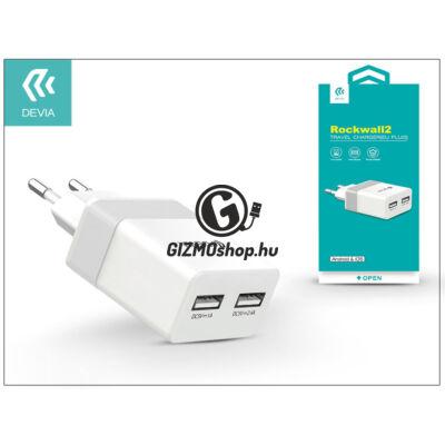 Univerzális USB hálózati töltő adapter 2 x USB – 5V/2,4A – Devia Rockwall 2 – white/silver
