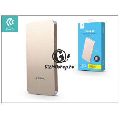 Univerzális hordozható, asztali akkumulátor töltő – Devia Thunder 2xUSB 2.1A Power Bank – 5000 mAh – gold