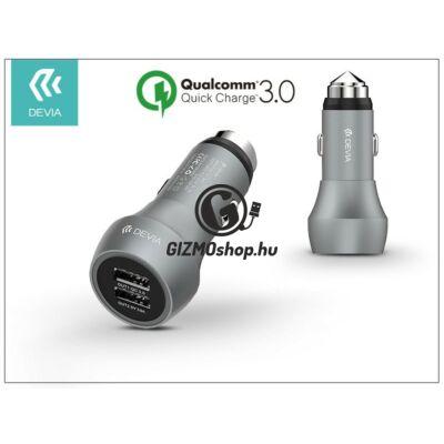 Devia Hammer Dual USB szivargyújtós töltő adapter – 5V/3A – Qualcomm Quick Charge 3.0 – grey