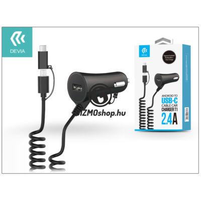 Devia szivargyújtó töltő micro USB + Type-C csatlakozóval – 5V/2,4A – Devia Cable Car Charger T1 – black